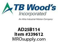 TBWOODS AD25B114 ZINC HUB AD25-1.250 DIA 1/4 KW