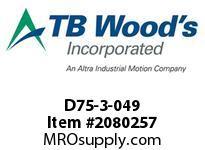 TBWOODS D75-3-049 HUB STL 8-3/8^ DIA X 2^ KW