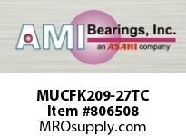 AMI MUCFK209-27TC 1-11/16 STAINLESS SET SCREW TEFLON FLANGE BRACKET SINGLE ROW BALL BEARING