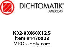 Dichtomatik K02-80X60X12.5 PISTON SEAL PISTON SEAL NBR IMPREGNATED FABRIC METRIC