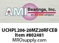 AMI UCHPL206-20MZ20RFCEB 1-1/4 KANIGEN SET SCREW RF BLACK HA OPN/CLS COVERS SINGLE ROW BALL BEARING