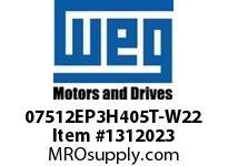 WEG 07512EP3H405T-W22 75HP 1200 3 60 575V TEFC Epact