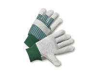 West Chester 350-EA Mens Green Knit Wrist Prem. Lea. Palm Gunn Cut Leather Knuckle Strap - Green/Pink Fabric