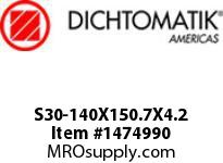 Dichtomatik S30-140X150.7X4.2 ROD SEAL 40 PERCENT BRONZE FILLED PTFE ROD SEAL WITH NBR 70 O-RING METRIC