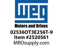 WEG 02536OT3E256T-9 25HP 3600 3 60 230/460V 9 LEAD ODP-Nema Pr.