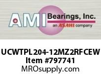 AMI UCWTPL204-12MZ2RFCEW 3/4 ZINC SET SCREW RF WHITE TAKE-UP COVERS SINGLE ROW BALL BEARING