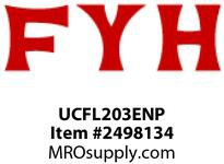 FYH UCFL203ENP 17MM ND SS 2 BOLT FLANGE UNIT - NICKEL