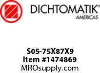 Dichtomatik S05-75X87X9 ROD SEAL NBR/NBR IMPREGNATED FABRIC ROD SEAL METRIC