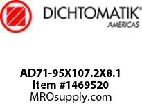 Dichtomatik AD71-95X107.2X8.1 WIPER POLYURETHANE 92 DURO/NBR 70 O-RING ENERGIZED DOUBLE WIPER