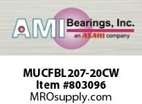 AMI MUCFBL207-20CW 1-1/4 STAINLESS SET SCREW WHITE 3-B COV SINGLE ROW BALL BEARING