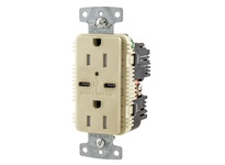 HBL_WDK USB15C5I RCPT DUP 15A 125V 5A 5V USB PORT C I