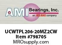 AMI UCWTPL206-20MZ2CW 1-1/4 ZINC WIDE SET SCREW WHITE TAK COVERS SINGLE ROW BALL BEARING