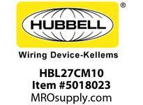 HBL_WDK HBL27CM10 LKG RCPT 30A 125/250V L14-30R YL