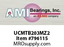 AMI UCMTB203MZ2 17MM ZINC WIDE SET SCREW STAINLESS SINGLE ROW BALL BEARING