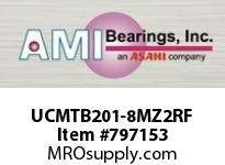 AMI UCMTB201-8MZ2RF 1/2 ZINC SET SCREW RF STAINLESS TAP BLK SINGLE ROW BALL BEARING