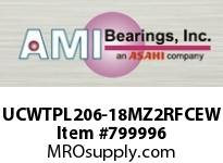 AMI UCWTPL206-18MZ2RFCEW 1-1/8 ZINC SET SCREW RF WHITE TAKE- OPN/CLS COVERS SINGLE ROW BALL BEARING