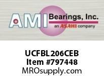 AMI UCFBL206CEB 30MM WIDE SET SCREW BLACK 3-BOLT FL ROW BALL BEARING