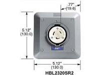 HBL-WDK HBL2320SR2 LKG S/SHRD RCPT L6-20R 2G SURF MT GY