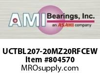 AMI UCTBL207-20MZ20RFCEW 1-1/4 KANIGEN SET SCREW RF WHITE TB BLK OPN/CLS COV SINGLE ROW BALL BEARING