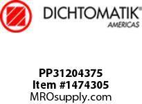 Dichtomatik PP31204375 SQB SYMMETRICAL SEAL POLYURETHANE 92 DURO WITH NBR 70 O-RING BEVELED LOADED U-CUP INCH