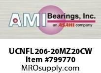 AMI UCNFL206-20MZ20CW 1-1/4 KANIGEN SET SCREW WHITE 2-BOL FLANGE OPN COV SINGLE ROW BALL BEARING