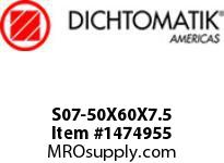Dichtomatik S07-50X60X7.5 ROD SEAL NBR/NBR IMPREGNATED FABRIC/POM ROD SEAL WITH AE RING METRIC