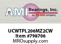 AMI UCWTPL206MZ2CW 30MM ZINC WIDE SET SCREW WHITE TAKE COVERS SINGLE ROW BALL BEARING