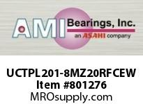 AMI UCTPL201-8MZ20RFCEW 1/2 KANIGEN SET SCREW RF WHITE TAKE OPN/CLS COVERS SINGLE ROW BALL BEARING