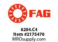 FAG 6204.C4 RADIAL DEEP GROOVE BALL BEARINGS