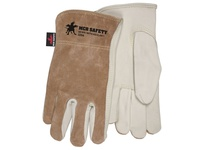 MCR 3204M Select Grain Cowhide Brown Split Back Driver Sewn w/KEVLAR Rolled Leather Hem Memphis Logo