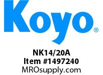 Koyo Bearing NK14/20A NEEDLE ROLLER BEARING SOLID RACE CAGED BEARING