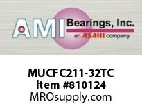 AMI MUCFC211-32TC 2 STAINLESS SET SCREW TEFLON PILOTE SINGLE ROW BALL BEARING