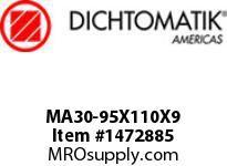 Dichtomatik MA30-95X110X9 ROD SEAL POLYURETHANE 92 DURO ROD SEAL METRIC