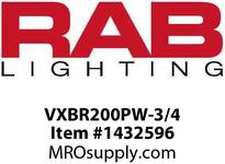 RAB VXBR200PW-3/4 VAPORPROOF 200 WALL BRK 4 BOX 3/4 WITH WHITE PERMA GLOBE