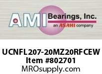 AMI UCNFL207-20MZ20RFCEW 1-1/4 KANIGEN SET SCREW RF WHITE 2- FLANGE CLS COV SINGLE ROW BALL BEARING