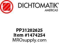 Dichtomatik PP31202625 SYMMETRICAL SEAL POLYURETHANE 92 DURO WITH NBR 70 O-RING STANDARD LOADED U-CUP INCH
