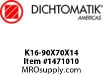 Dichtomatik K16-90X70X14 PISTON SEAL PISTON SEAL W/ BACK-UP RING AND AE RING NBR/NBR IMPREG FABRIC/POM METRIC