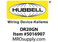HBL_WDK DR20GN DECO RCPT COMM GRD 20A 125V 5-20R GN