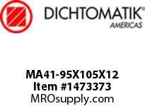 Dichtomatik MA41-95X105X12 ROD SEAL POLYURETHANE 92 DURO ROD SEAL WITH AE RING METRIC