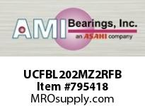 AMI UCFBL202MZ2RFB 15MM ZINC SET SCREW RF BLACK 3-BOLT BRACKET SINGLE ROW BALL BEARING