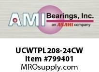 AMI UCWTPL208-24CW 1-1/2 WIDE SET SCREW WHITE TAKE-UP SINGLE ROW BALL BEARING