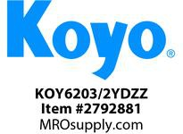 Koyo Bearing 6203/2YDZZ SINGLE ROW BALL BEARING
