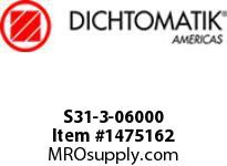 Dichtomatik S31-3-06000 ROD SEAL 40 PERCENT BRONZE FILLED PTFE BUFFER SEAL WITH NBR70 O-RING INCH