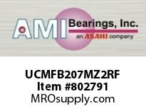 AMI UCMFB207MZ2RF 35MM ZINC SET SCREW RF STAINLESS 3- SINGLE ROW BALL BEARING