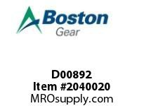 Boston Gear D00892 SF862BRT-125K-B5 HEL/WORM RED.HOLLOW