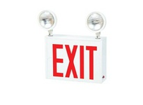 Fulham FHNY30WEM FireHorse NYC Exit and Emergency Light Combo - w/ Heavy Duty Steel Housing - Single Face - Red Letters - w/ Three 12V -