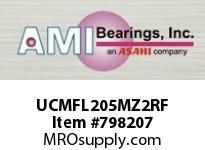 AMI UCMFL205MZ2RF 25MM ZINC SET SCREW RF STAINLESS 2- SINGLE ROW BALL BEARING