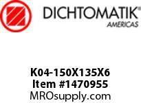 Dichtomatik K04-150X135X6 PISTON SEAL 40 PERCENT BRONZE FILLED PTFE PISTON SEAL WITH NBR 70 O-RING METRIC