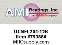 AMI UCNFL204-12B 3/4 WIDE SET SCREW BLACK 2-BOLT FLA ROW BALL BEARING