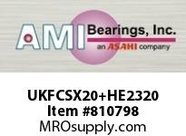 AMI UKFCSX20+HE2320 3-1/2 MEDIUM WIDE ADAPTER PILOTED F CARTRIDGE SINGLE ROW BALL BEARING